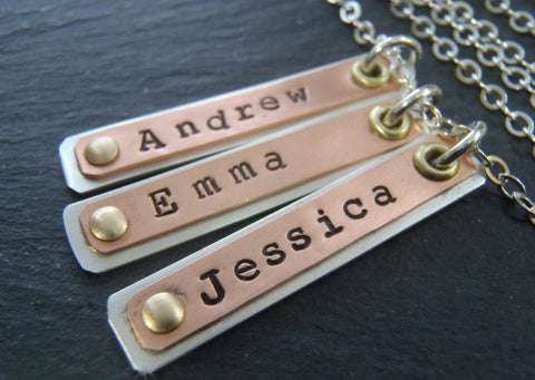 Brass, copper and sterling silver personalized bar necklace for mom with children's names - Drake Designs Jewelry