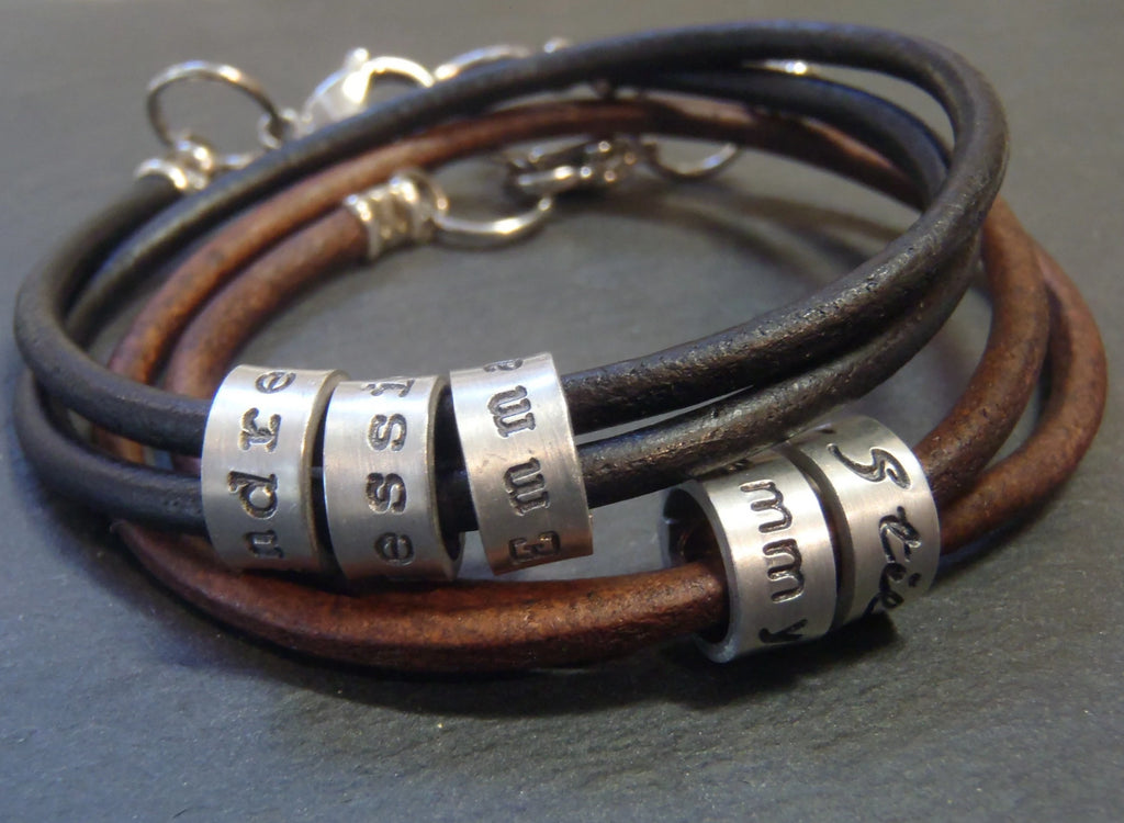Personalized leather bracelet with name charms - Drake Designs Jewelry