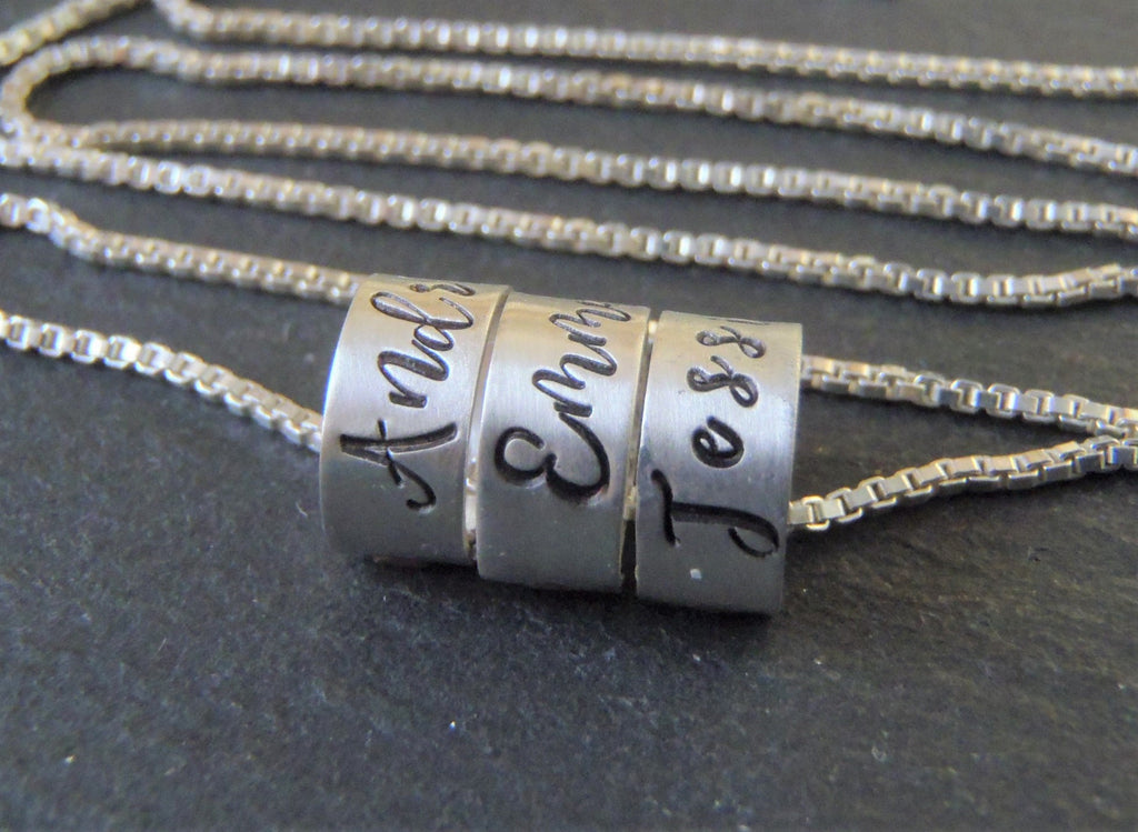 sterling silver mothers necklace with kids name charms - Drake Designs Jewelry