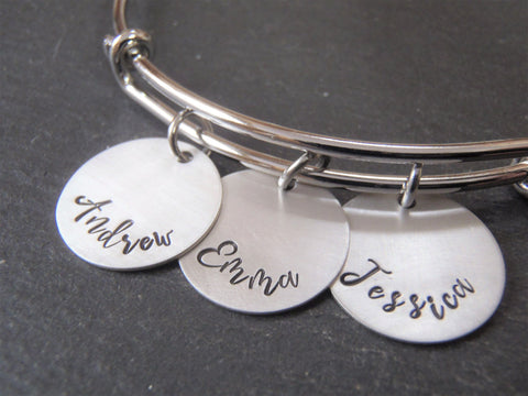 Personalized adjustable mom bangle bracelet - Drake Designs Jewelry