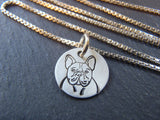 French Bulldog Jewelry gift.  Hand crafted sterling silver French Bulldog necklace.  Drake Designs Jewelry