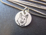 German Shepherd jewelry gift.  Hand crafted sterling silver German Shepherd necklace. Drake designs jewelry