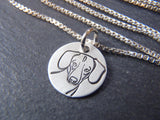 Tiny Daschund dog necklace hand made in sterling silver. drake designs jewelry