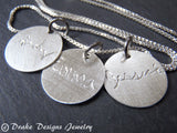 Signature Necklace with a loved one's handwriting. personalized and hand engraved sterling silver - Drake Designs Jewelry