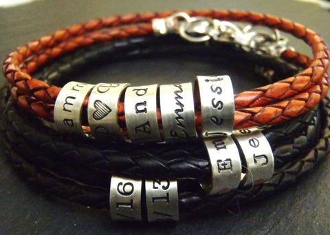 Braided leather bracelet with personalized  sterling silver name charms - Drake Designs Jewelry