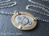 Monogram necklace - mixed metal sterling silver oval with gold rim hand crafted - Drake Designs Jewelry