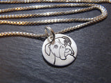 sterling silver boxer dog necklace.  drake designs jewelry