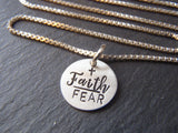 Sterling silver faith over fear necklace - Drake Designs Jewelry