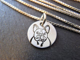 French Bulldog necklace handmade sterling silver.  Drake Designs Jewelry