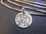 Beagle necklace sterling silver. Beagle jewelry gift. Drake designs jewelry