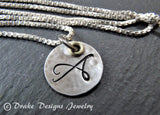 Mixed metal mom necklace with initials sterling silver custom made - Drake Designs Jewelry