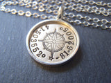 personalized compass, silver and 14k gold fill necklace with coordinates. raised edge border pendant - Drake Designs Jewelry