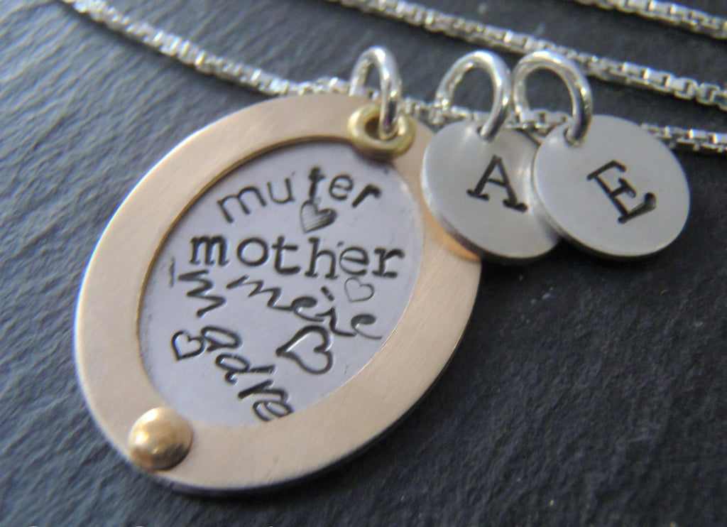 Mixed metal mother's necklace word collage personalized with children's initials - Drake Designs Jewelry