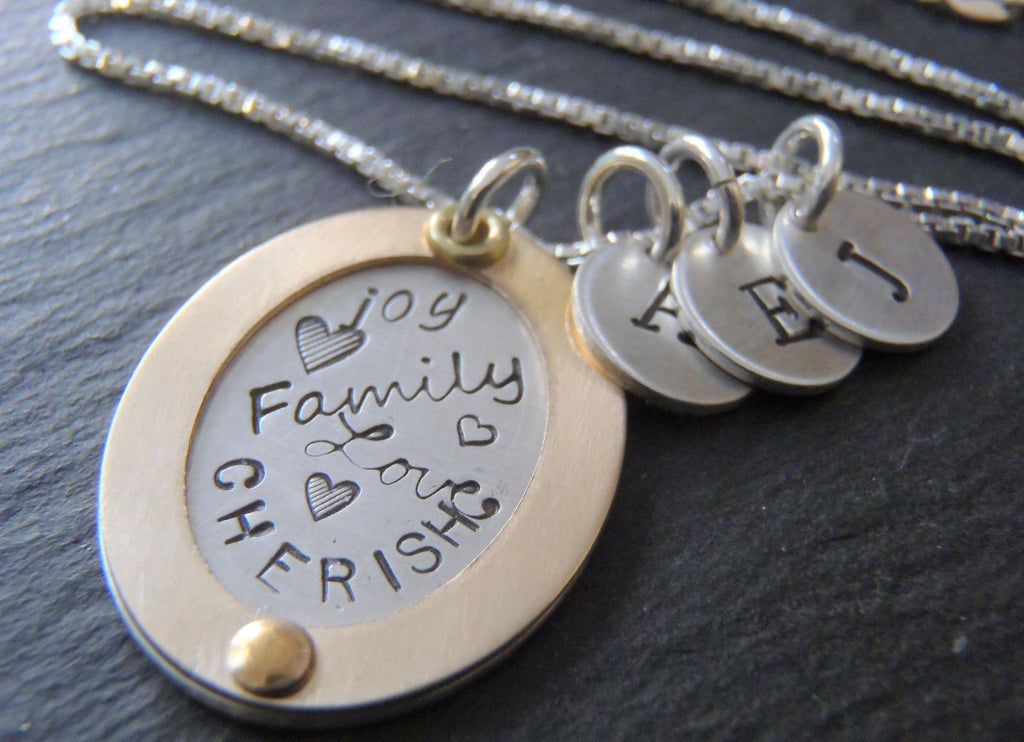 Mixed metal family necklace personalized with kid's initials - Drake Designs Jewelry