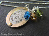 Rose gold and sterling silver mom necklace with personalized family birthstones - Drake Designs Jewelry