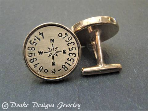 Personalized Cufflinks golden bronze with latitude longitude coordinates - Drake Designs Jewelry