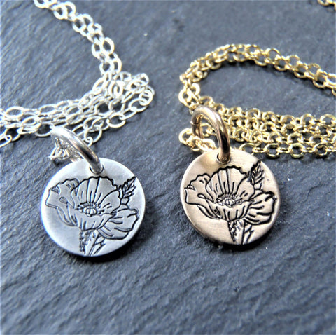 silver or gold birth flower necklace personalized birthday gift or unique mom necklace hand stamped with kids birth flowers - drake designs jewelry