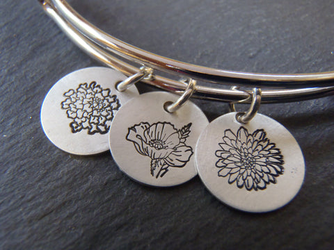 Personalized Birth Flower Bracelet - Drake Designs Jewelry