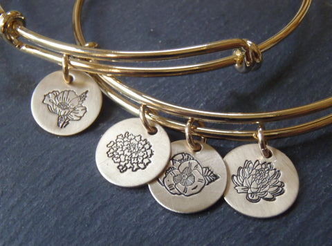 Birth Flower jewelry bangle bracelet - select one or multiple birth flower charms - Drake Designs Jewelry