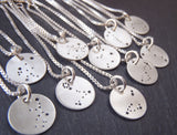 Zodiac constellation necklace hand stamped on sterling silver - Drake Designs Jewelry