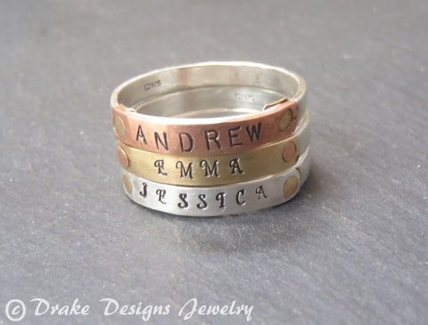 Sterling silver stacking name rings for mom in mixed metals. Personalized with names or words. - Drake Designs Jewelry