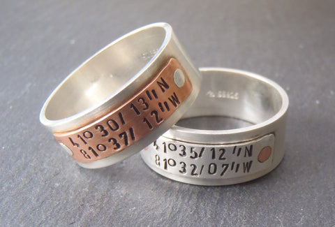 Sterling Silver GPS coordinates ring - Personalized latitude longitude jewelry - Drake Designs Jewelry