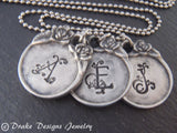 Vintage style initial necklace personalized - Drake Designs Jewelry
