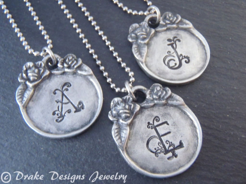 vintage style initial monogram personalized necklace - Drake Designs Jewelry