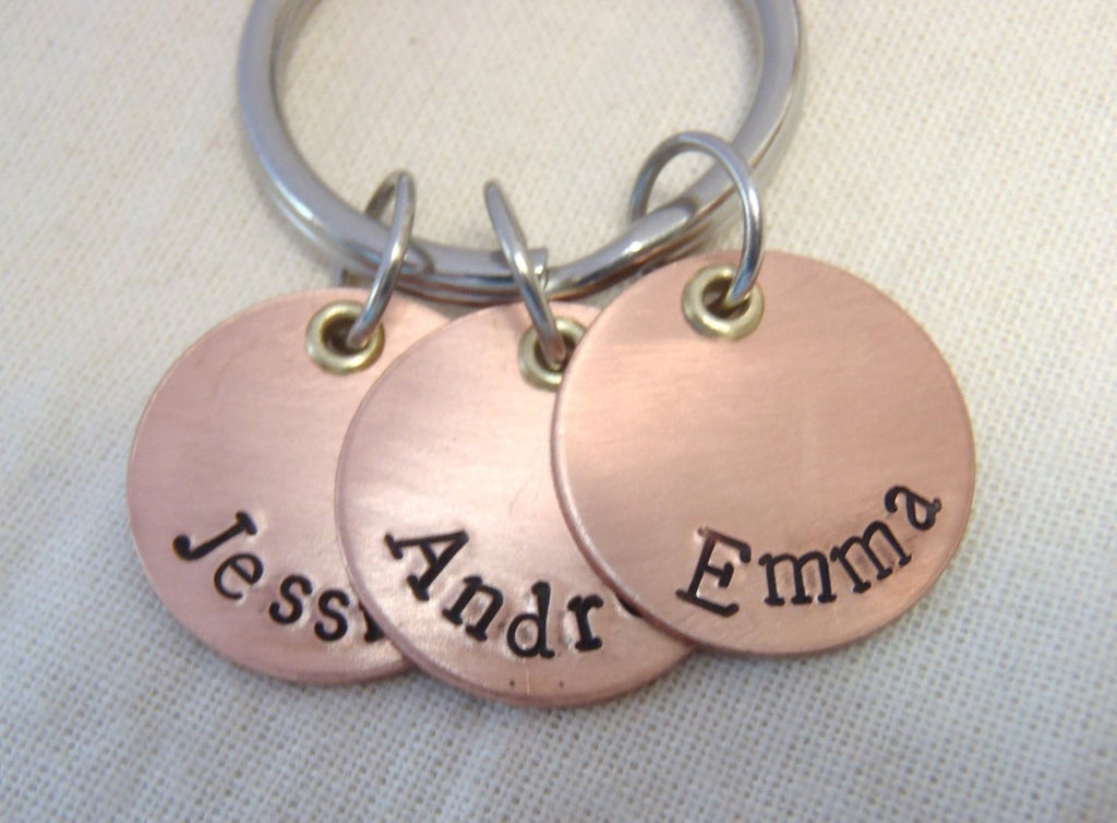 Personalized mixed metal mom or dad keychain with kid's names - Drake Designs Jewelry