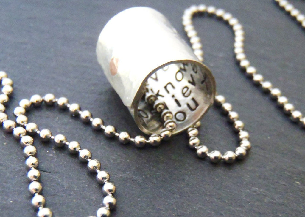 Personalized Secret Message necklace hammered and hand stamped with inspirational words or a custom message hidden inside - Drake Designs Jewelry