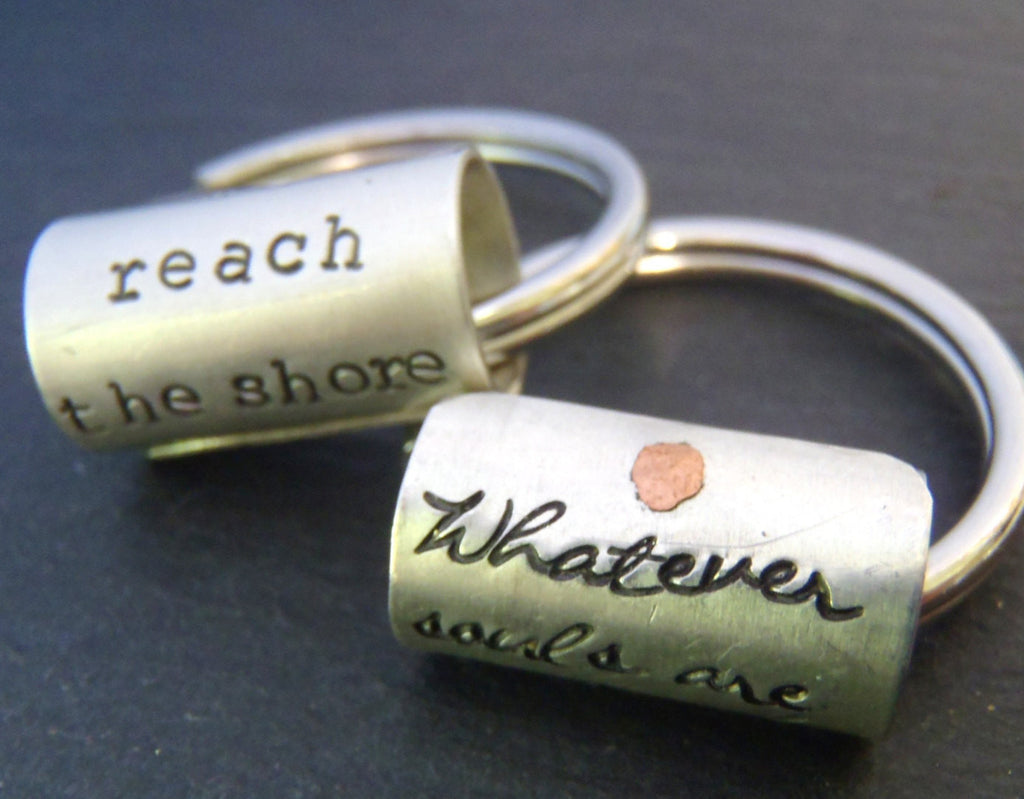 Sterling silver personalized inspirational quote Custom text keychain - Drake Designs Jewelry
