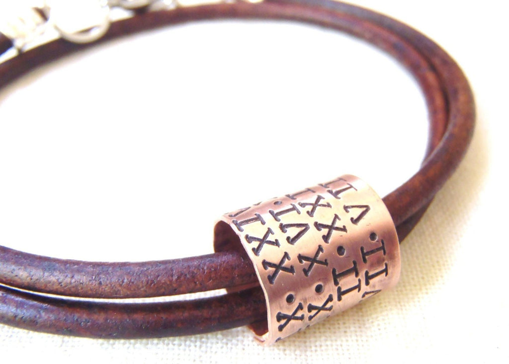 Roman Numeral personalized leather bracelet for men or women - Drake Designs Jewelry