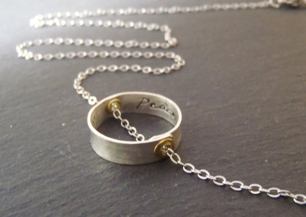 Inner Peace necklace with message inside - be inspired! - Drake Designs Jewelry