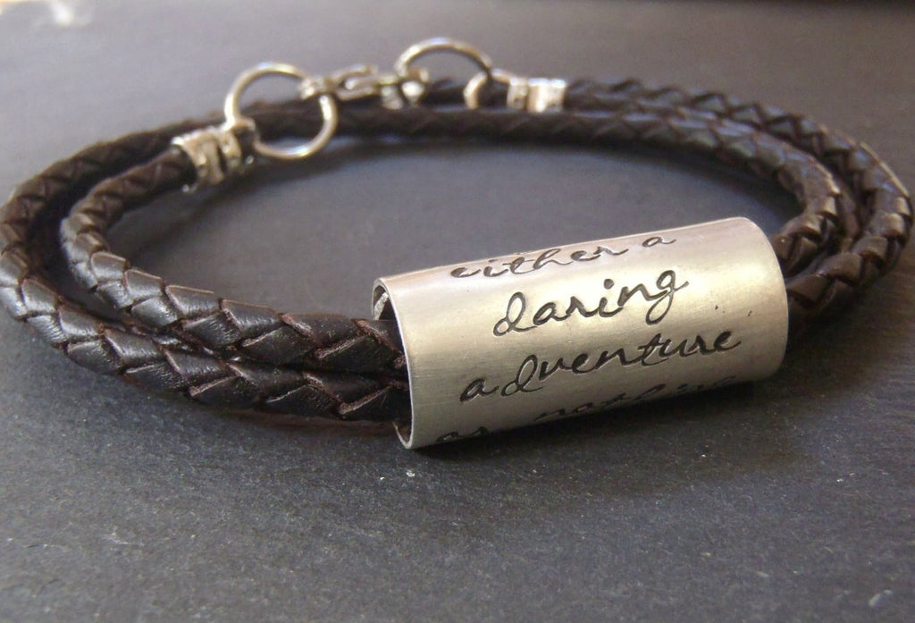 Personalized women's or men's leather bracelet with custom message or inpirational quote - Drake Designs Jewelry