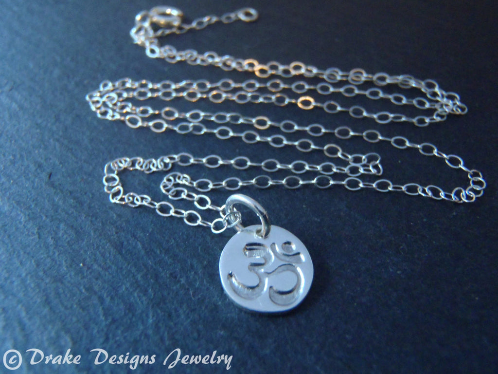 Teeny tiny sterling silver om necklace - Drake Designs Jewelry