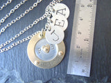 Family initial necklace for mom with kids' initial charms and anniversary date - Drake Designs Jewelry