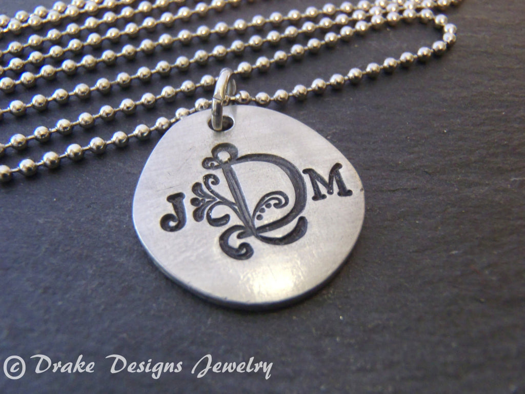 Three initial monogram necklace hand stamped personalized gift for her 3 initial - Drake Designs Jewelry