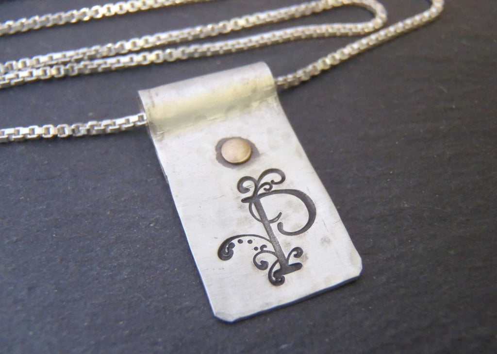 Rustic Hammered ornate Initial sterling silver necklace - Drake Designs Jewelry
