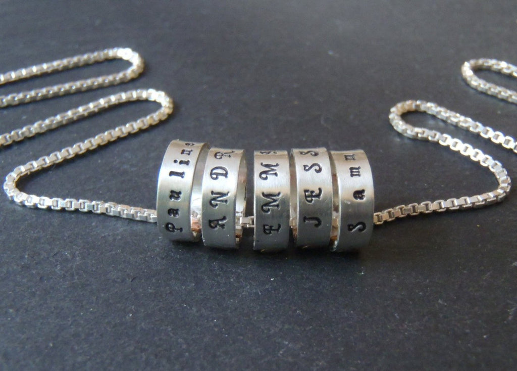 Sterling silver Mom necklace with kid's names personalized - Drake Designs Jewelry