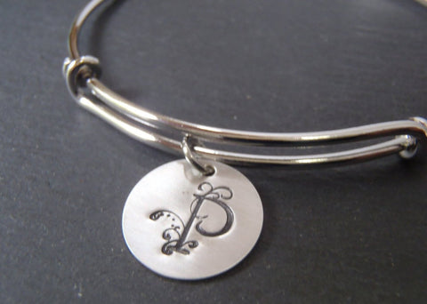 Initial bracelet personalized-  bangle bracelet  with custom letter - Drake Designs Jewelry