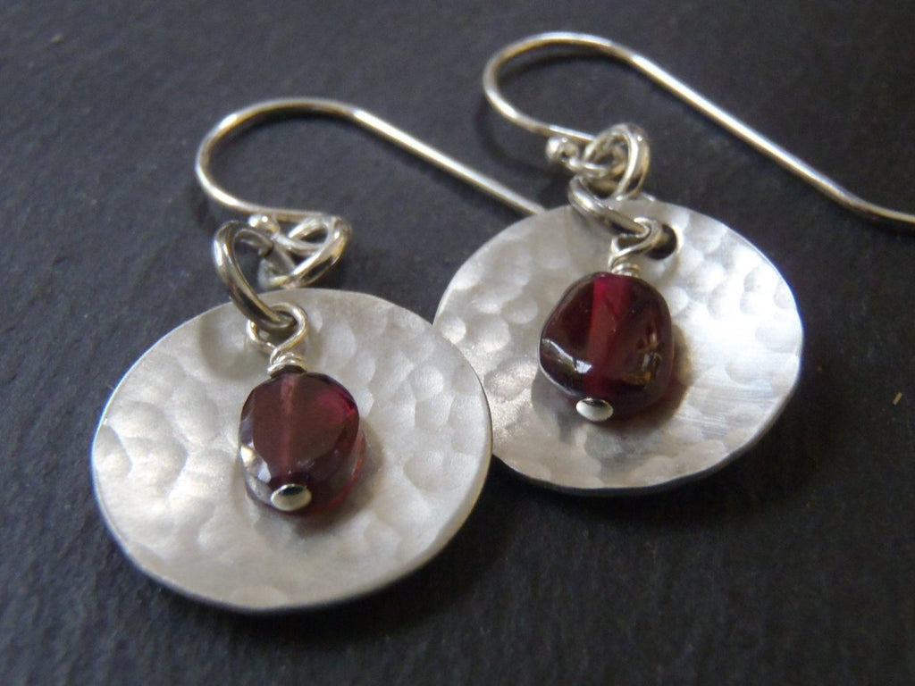 Sterling silver garnet earrings January birthstone birthday gift - Drake Designs Jewelry
