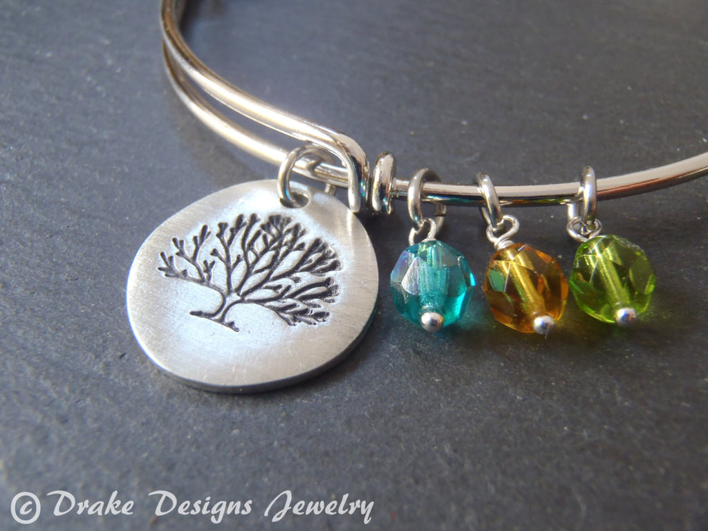 Tree bracelet personalized for mom with birthstones family tree bangle bracelet - Drake Designs Jewelry