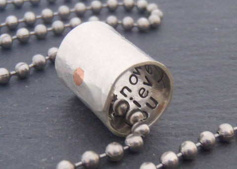 Custom Secret Message Necklace with personalized message hidden inside - Drake Designs Jewelry