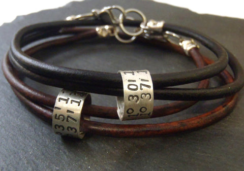 Personalized leather bracelet for men or women with custom coordinates - Drake Designs Jewelry
