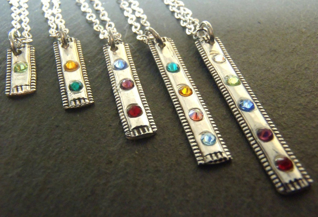 Rustic personalized birthstone bar necklace in sterling silver - Drake Designs Jewelry