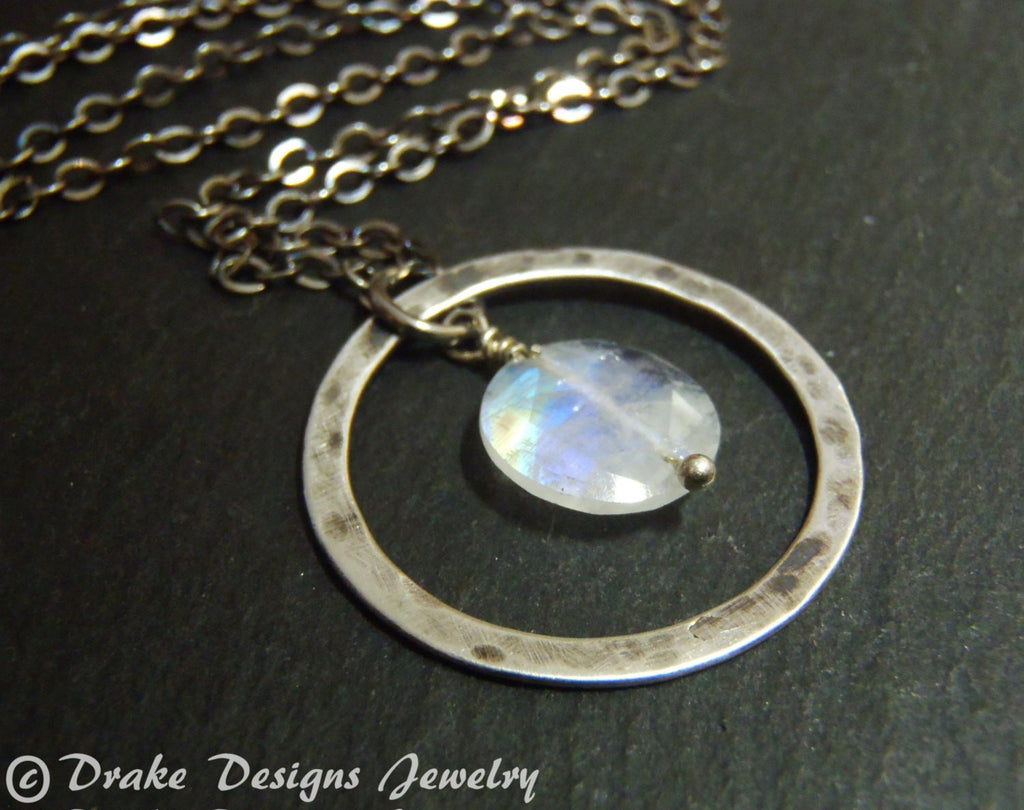 sterling silver moonstone necklace rainbow moonstone jewelry - Drake Designs Jewelry