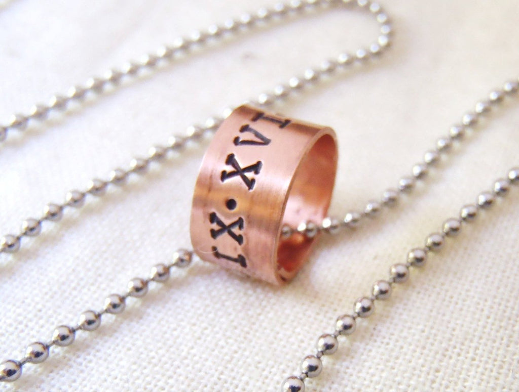 Roman numeral date personalized men's or women's necklace with date or name - Drake Designs Jewelry
