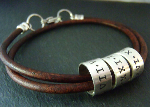 Personalized Leather bracelet for men - leather anniversary gift - dates in Roman Numerals - Drake Designs Jewelry