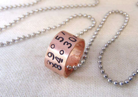 Men's or women's copper GPS coordinates necklace personalized - Drake Designs Jewelry