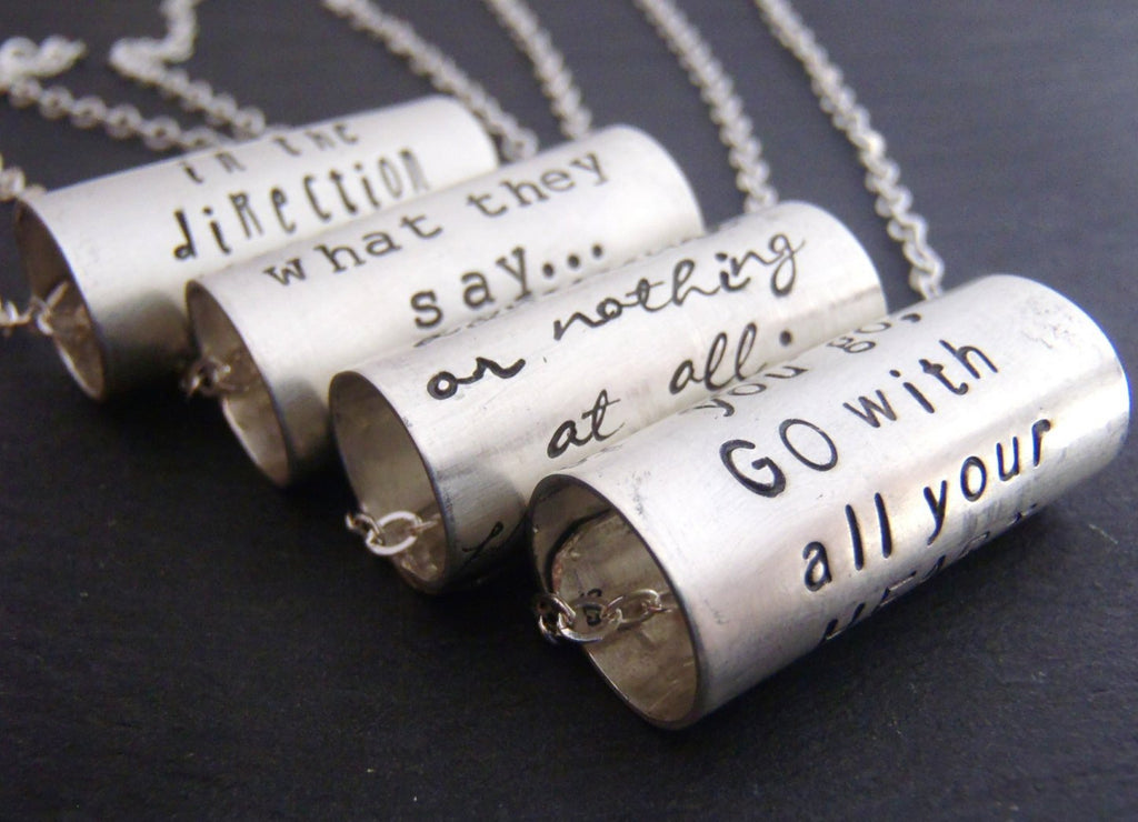 Sterling silver inspirational jewelry. Custom quote necklace - Drake Designs Jewelry